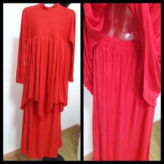Long dress and skirt suit red