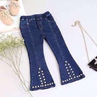 Girls Korean Slim Beads Split Trumpet Jeans