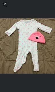 Flamingo sleepsuit set hat by Carter