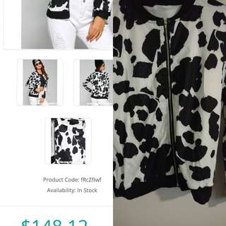 (Final Price)Cow print bomber