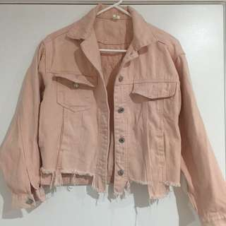 New!! Pink denim jacket size S