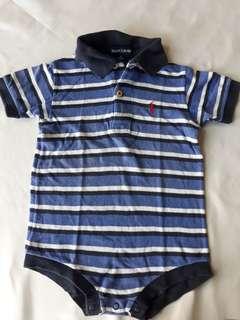White and Blue Stripes Polo Romper