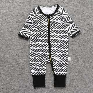 Baby Kids Boys Girls Black Lines Sleepsuit (Newborn - 2years)