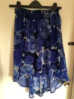 Costa Blanca Watercolour Flowers Hi-Lo Skirt