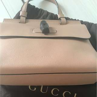 Pre-loved  authentic Gucci Bamboo daily leather bag