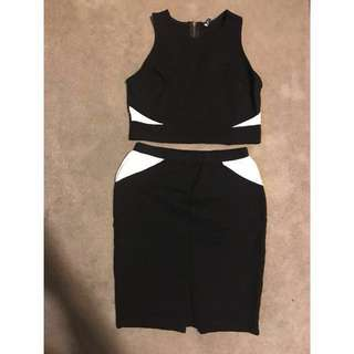 Mendocino Black And White Two Piece Dress