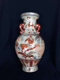 Qing dynasty famille rose vase with doble hooks decorated with historical human characters 35cm high . 清代粉彩人物故事瓶