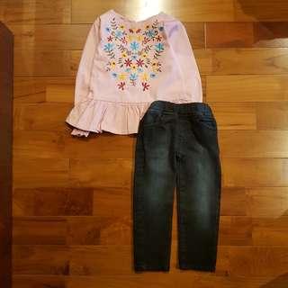 Senshukei bordir pink set jeans