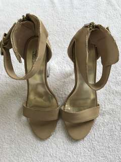 PEOPLE ARE PEOPLE NUDE ANKLE STRAP HEELS