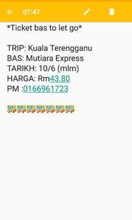 Ticket Bas to Kuala Terengganu 10 Jun 2018