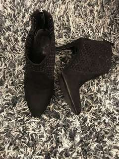 ZARA BLACK SUEDE HIGH-HEEL BOOTS