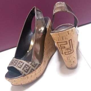 Auth Fendi 船跟鞋 platform shoes 37