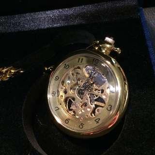 金色 鏤空雕刻 金鍊懷錶