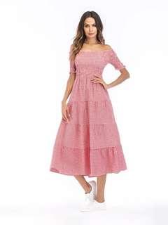 Checkered Off Shoulder Dress 101225 FM