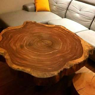 🚚 年輪斑馬木桌