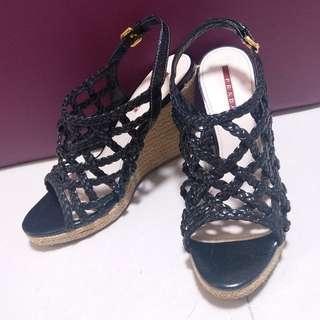 Auth Prada 船跟鞋底 platform shoes 37.5