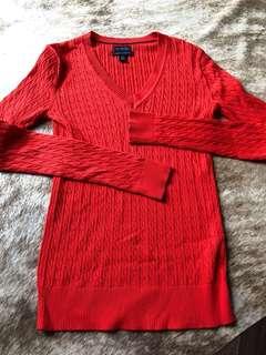 Ralph Lauren bright orange/red V neck 💯 cotton top size XS