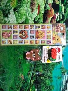 Sticker winnie the pooh and eraser japan