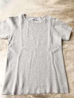 Oroton cotton shirt sleeve top light grey size M