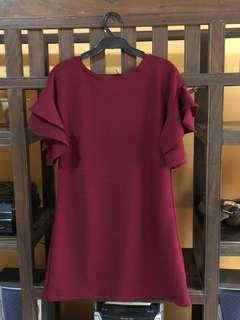 Straight Dress with Ruffle Sleeves (Maroon)