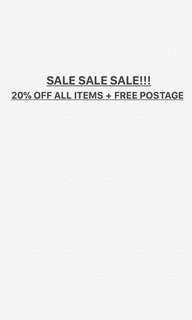 SALE! ALL ITEMS 20% OFF WITH FREE SHIPPING