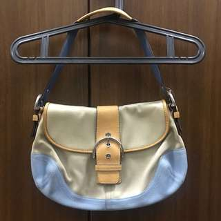 Coach tricolor shoulder hobo bag