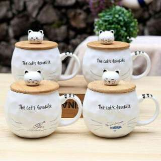 Cat Ceramic Cup With Spoon/Cover