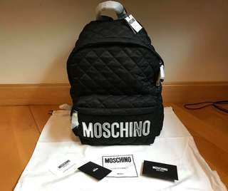 Moschino backpack 背包 (黑色銀字)Big size 大size