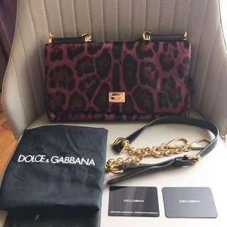 Dolce & Gabbana Purple Sicily Leopard Print Bag (BRAND NEW)