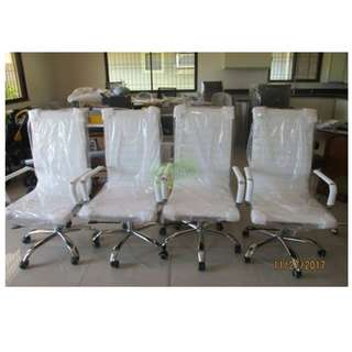 HIGHBACK EXECUTIVE CHAIRS WHITE LEATHERETTE--KHOMI