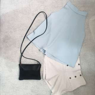 Pastel Blue Halter Top