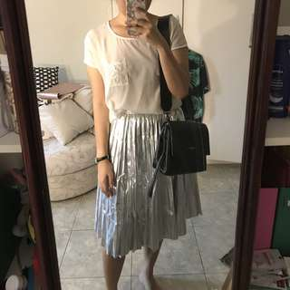 The editors market silver pleated skirt