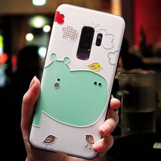 Samsung Silicone Sleeve Cute Hippo Birds S9 S9+ PO