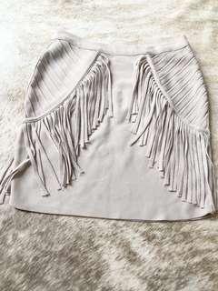 Seed unique fringe beige colour mini skirt size XS