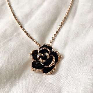 Rhinestone Crystal Rose Pendant with Rose Gold Plated Chain
