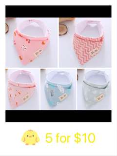 Baby Bibs 5 for 10sgd