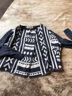 Hollister arty print zipper up crop top szie S