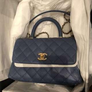 Chanel coco handle (blue) small 95%