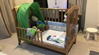 Baby Cot Adjustable Height with Mattress