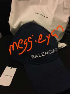 100% AUTHENTIC BNWT - BALENCIAGA Blue Logo Cap