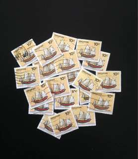 20 Pcs Singapore 1980 Ship Def 10c Used