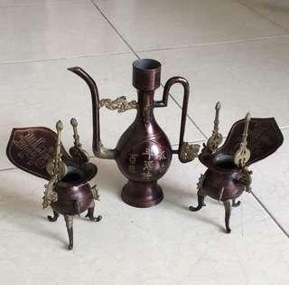 Offer! Vintage semi brass decanter set
