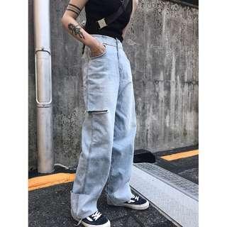 VM 原創 街頭 時尚潮流 個性高腰直筒破洞中性反折 淺色牛仔褲 闊腿拖地牛仔褲