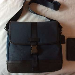 Excellent Preowned Mens Coach Varick Nylon and Leather Messenger Sling Crossbody