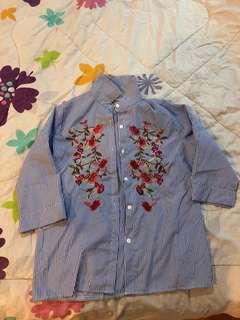 Zara look alike Embroidery Shirt