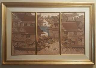 Huge Vintage Thai Painting With Gold Wall Frame