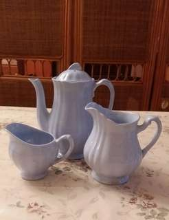 Bone China Tea Pot, Cream & Sugar Jar ( J.E.G. MEAKIN England Celeste)  (Self Collect @Blk 113 J.E. St. 13, 600113)