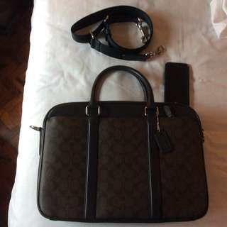 Like New Condition Coach Commuter Signature Briefcase Laptop Travel Crossbody