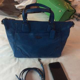 Preowned Coach Mickie Satchel Crossbody in Metallic Denim Blue