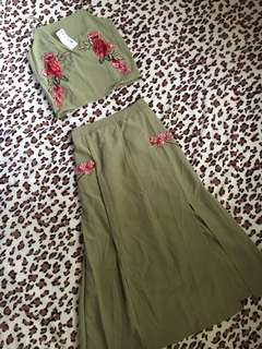 Green embroidered terno dress